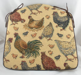 hens and chick tapestry seat pad