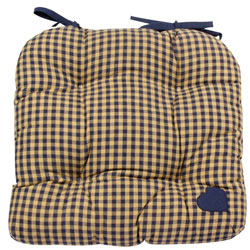 york blue plaid chunky seat pad