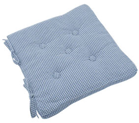aubere blue buttoned seat pad cushion