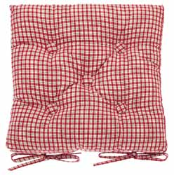Maple Textiles Beige Gingham Checked Country Style Chunky Padded Seat Cushion Seat Pad Garden Kitchen Dining