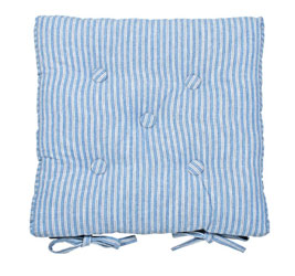 county ticking cornish blue buttoned seat pad
