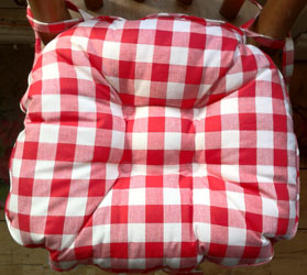 gingham country check red seat pad