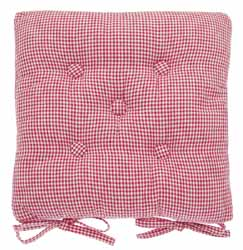 mini gingham raspberry buttoned seat pad