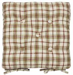 woodland check buttoned seat pad
