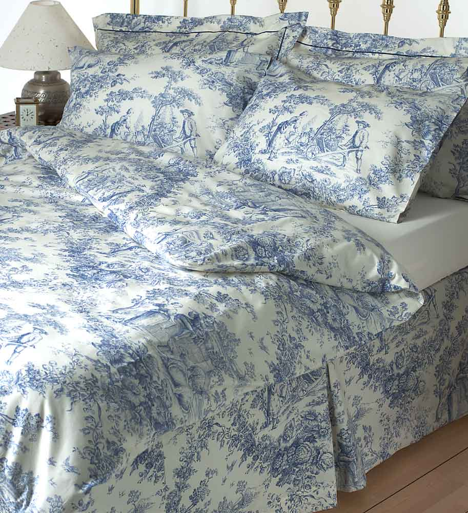 Toile Blue Bedding 49