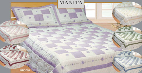angela lilac patchwork quilt with shams