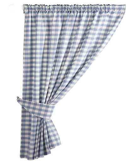 blue gingham country kitchen curtains