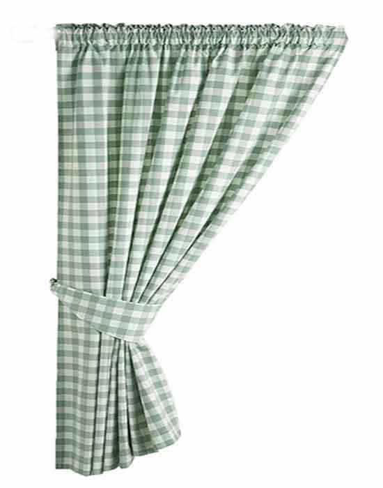 Gingham Green Kitchen Curtains