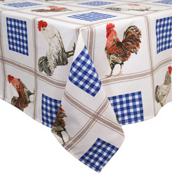 rooster blue tablecloth