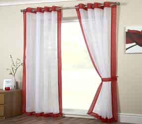 mayfair red voile curtain