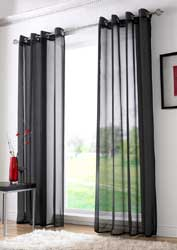 black voile eyelet curtain