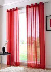 red voile eyelet curtain