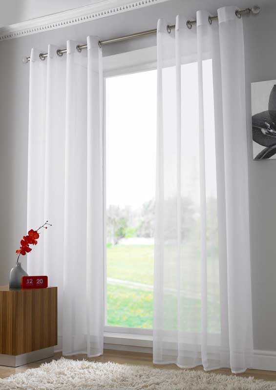 voile tab top curtain panel with contrasting border tie back included ...