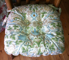 william morris wild rose blue chunky seat pad